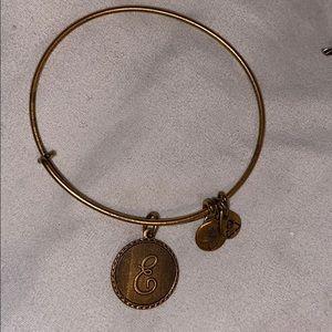 ALEX AND ANI gold Letter E bracelet